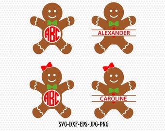 Monogram Gingerbread Cookies,Gingerman Svg,Gingerbread boy girl,Christmas SVG Cutting File Svg,CriCut Files svg jpg png dxf Silhouette cameo