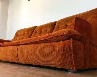 1960u0027s mid century sofa u0026 love seat in original crushed orange upholstery