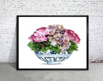 blue and white vase with flowers art print Ming vase chinoiserie ginger jar art indigo blue porcelain Ming Dynasty art