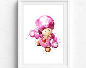 Super mario poster, video game art, mario poster, watercolor art, kids room art, art for kids, art for kids room, baby art, children art