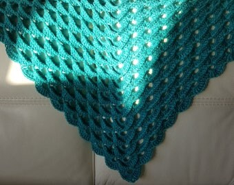 Embossed crocheted turquoise shawl