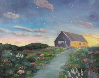 Night landscape Skyscape Summer night oil painting House flowers sky stars Custom oil picture Romantic landscape Fantastic view