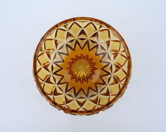 Stunning Vintage Art Deco Glass Bowl in Amber. Perfect Condition