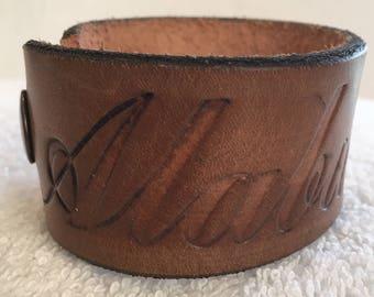 Alabama & Football Leather Cuff Bracelet