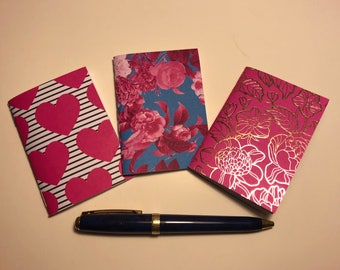 "Set of 3 Nano (micro) Traveler's Notebook Inserts ""Hearts & Flowers"""