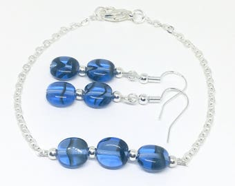 Blue Siver bead jewellery set, bracelet and earrings set, wedding jewellery, bridal jewellery, birthday gift, gift for her, gift for mum