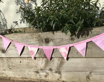 Cotton Double Sided Bunting - Pink Gingham, Floral and Polka Dots - free shipping