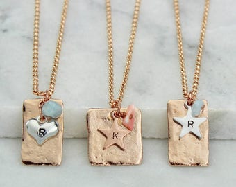Personalised Rose Gold - March Birthstone Pendant with Gemstones and Initials - March - Birthday - Mothers Day - Gift for mum