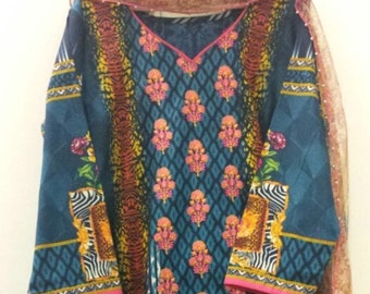 New Embroidered summer cotton( Lawn) indian dress(Large)