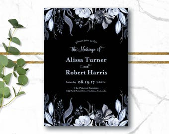 Black and Silver Wedding Invitation, Silver and Black Wedding Invitation, Floral Wedding Invitation, Watercolor Wedding Invitation, Elegant