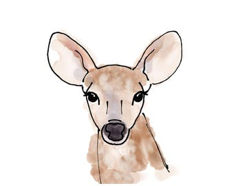Deer Watercolor Print