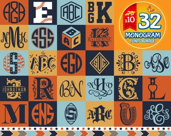 Monogram Fonts Svg Monogram Font Svg Monogram Font Bundle Svg Monogram Alphabet Svg Monogram Letters Files Silhouette Studio Cricut Svg Dxf
