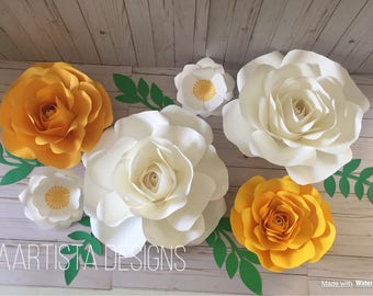 6 floral set- Yellow and White Rose combo