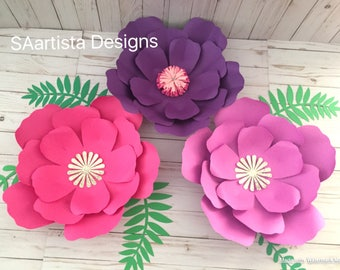 3 Pink and Purple Paper flower set