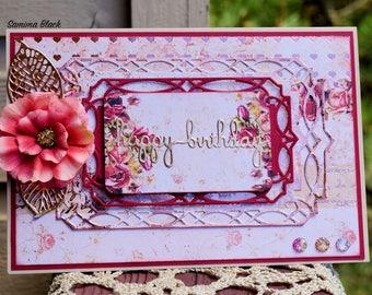 Fancy Birthday Card, Handmade Birthday Card, Handmade Shabby Card, Card in a Box, Floral Card, Card with Flowers, Prima Card, Fancy Card