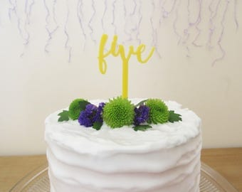 Yellow Five Cake Topper For 5th Birthday Laser Cut Acrylic