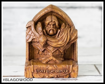 Wooden, Uther Lightbringer, hearthstone, warcraft, wow, world of warcraft, wow hero, wow statue, wow figurine, paladin