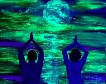 Yoga Couple Glow in the Dark Painting, Wall Art, Glow in The Dark Art