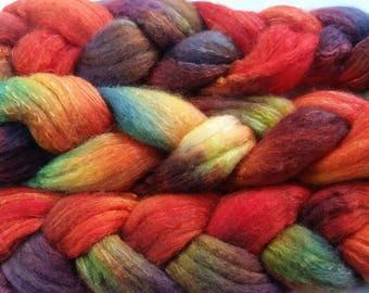 Merino silk spinning fiber hand dyed roving 100g