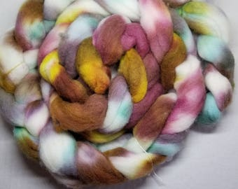 Hand dyed roving spinning felting fiber polwarth roving 100g