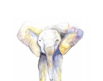 "Elephant Watercolor Print, Watercolor Painting, Wall Art, ""Nursery Art"" 9x12, ELEPHANT WATERCOLOR PRINT"