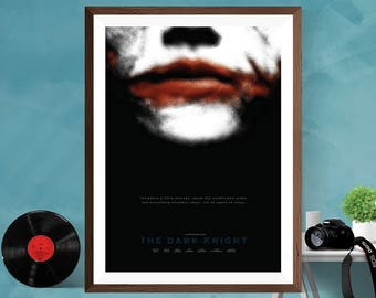 Batman  The Dark Knight Joker Minimalist Alternative Artwork  Movie Print Poster Canvas / Silk / Matt,A4 , A3 , A2