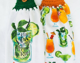 Mojito Tropical Drink Kitchen Towels - Crochet Top