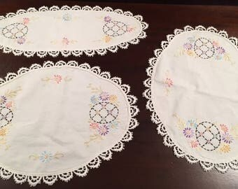 Vintage Set of 3 Hand Embroidered Doilies