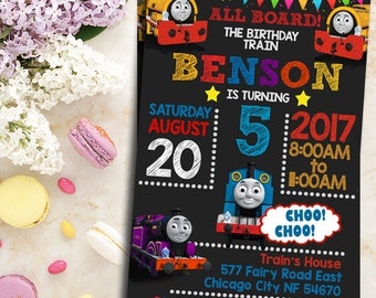 Thomas The Train Invitation- Thomas The Train Birthday- Thomas The Train Birthday Invitation- Thomas The Train Party- Thomas Train Invite