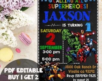 Superhero Invitation, Superhero Avenger Birthday Invitation, Avenger Invitation, Birthday Invitation, Spiderman Invitation, editable pdf