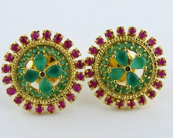 green and red colored cubic zirconia earring in gold polish