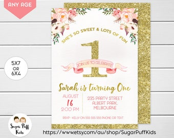 Pink Gold 1st Birthday Invitation For Girl, Pink Gold First Birthday Invitation, Pink 1st Birthday Invitation, 1st Birthday Invitation