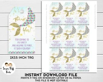 Mermaid  Favor Tags, Instant Download Mermaid Favor Tags, Mermaid Tail Thank You Favor Tags, Instant Download Birthday Favor Tags Mermaid