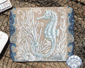 Seahorse mouse pad | seahorse art | Coastal mouse pad | neutral mouse pad | crab gift | Kate McRostie | Coastal office | Beach office
