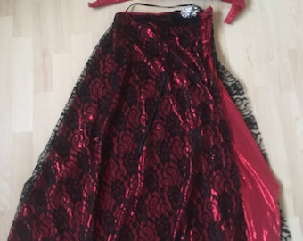 Professional Handmade Egyptian Belly Dance Costume Red and Black