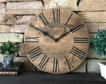 "18"" Natural Clock, Farmhouse Clock, Home Decor, Rustic Wall Clock, Wall Clock"