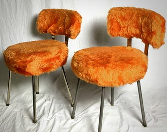 Pair of chairs moumouttes vintage 70's