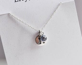 Personalised Light Sapphire Crystal and Letter Charm Necklace, Light Sapphire Crystal Charm, Sterling Silver Necklace Chain, Light Sapphire