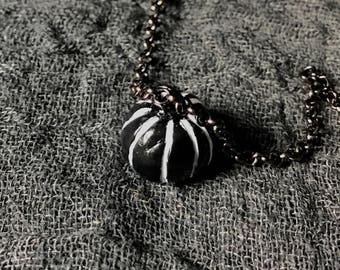Miniature Pumpkin Necklace (Black/White)