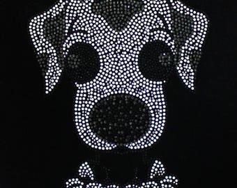 A Piece of Puppy Rhinestone Appliqué, Iron On Rhinestone Transfer Bling Hot Fix Motif Applique - IPA031