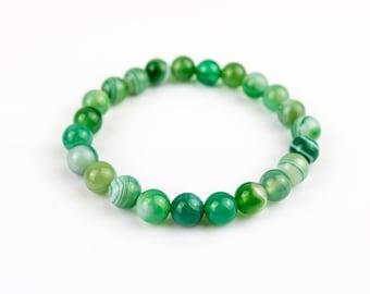 Green Agate Stones Bracelet 8mm
