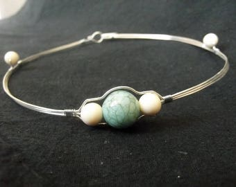 Minimalist wire wrap choker, silver plated copper with turquoise bead