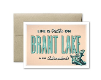 Brant Lake Greeting Card, Adirondacks Greeting Card, Brant Lake Card, Vintage Greeting Card, Upstate New York Card, Adirondacks Card