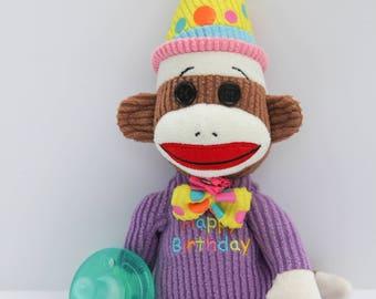 baby birthday Monkey binkie pacifier holder