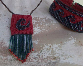 Pocket necklace, crochet seed bead necklace