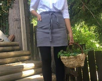 Linen half apron. Linen cafe apron. Eco - friendly linen midi apron. Washed softened handmade linen apron. Asphalt grey linen apron.