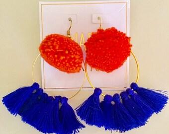 UF Pom Pom Tassel Earrings