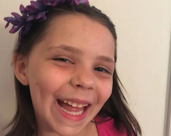 5 yr old  girl purple flower headband