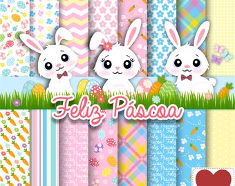 Digital Paper Happy Easter Kit Digital Feliz Páscoa Rabbit Clipart Cute Rabbit Coelho