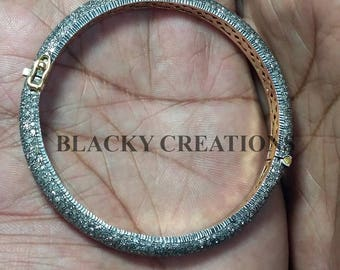 Handmade 925 Sterling Silver Pave Designer Bangle Jewelry,Pave Diamond Jewelry